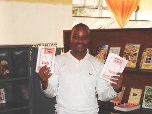 a Manna Publications bookseller in Tanzania