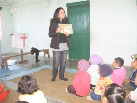 Children listening to a Bible story